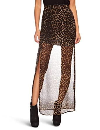 House Of Dereon Printed Women's Maxi Skirt Brown/Black Large