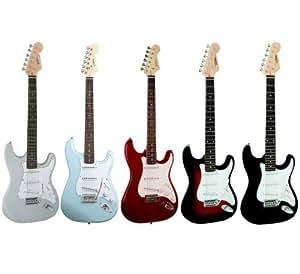 Guitare Electrique Strato 5 Coloris Au Choix ~ Avec Vibrato Et Câble (sunburst)