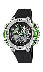 Calypso watches - Reloj analógico y digital de cuarzo para niño con correa de caucho, color negro