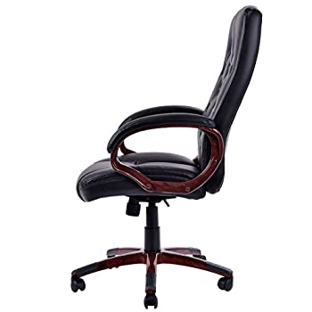 Giantex Ergonomic High Back Traditional Tufted Swivel Office Executive Chair, Black