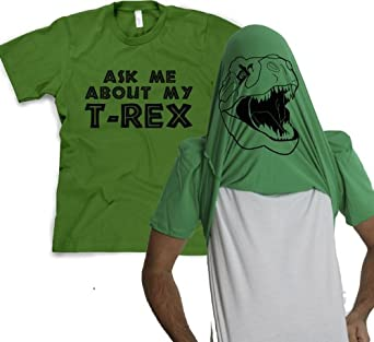 Men's Ask Me about My T-Rex T-Shirt Tee Funny Graphic Tee Green Size S