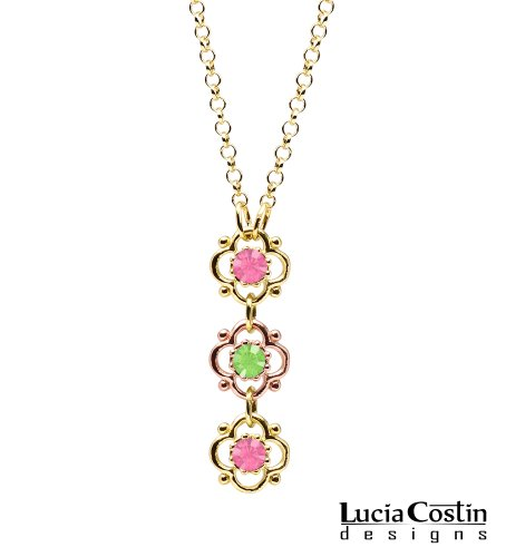 Gorgeous Flower Pendant by Lucia Costin with 4 Petal Flowers Surrounded by Dots, Light Green and Pink Swarovski Crystals; 14K Yellow and Pink Gold Plated over .925 Sterling Silver