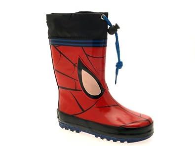 KIDS BOYS GIRLS CHILDRENS SPIDERMAN TIE TOP WELLIES SNOW RAIN WELLINGTON BOOTS BLACK RED SIZE JUNIOR UK 1