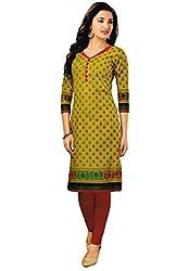 Salwar Studio Women's Olive Green Cotton Floral Printed Kurti Fabric