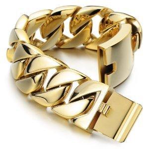 31 mm extra large bracelet gourmette en or acier inoxydable bracelet homme poli mirro. Black Bedroom Furniture Sets. Home Design Ideas