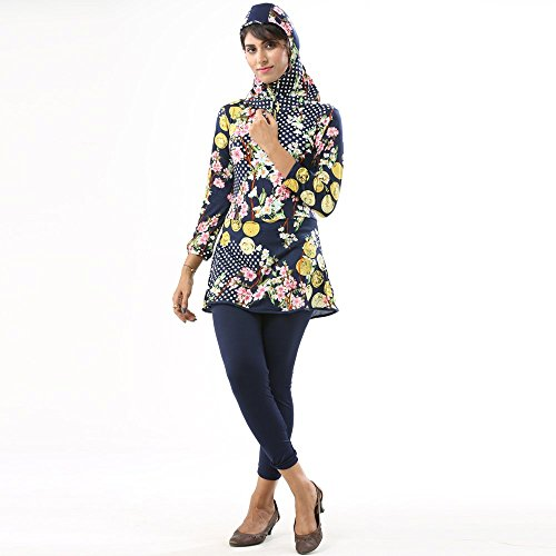 3a9af05f43 Classic And Pleasurable Modest Multi Bold Floral Modest Muslim Swimwear.