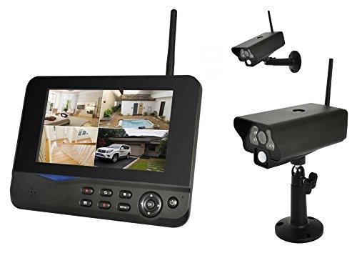 Digitales Kamera Funk-Überwachungs-Set (inkl. 7 Zoll TFT Monitor + 2 Stk. Kameras, kabellos, Nachtsicht (Infrarotkamera), erweiterbar bis zu 4 Kameras, bis zu 300 m, Aufnahmefunktion, SD-Kartenslot bis 32GB, USB 2.0 für externe Festplatte bis 1TB)