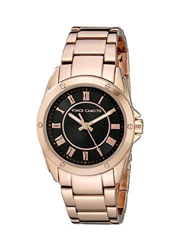 Vince Camuto para mujer reloj infantil de cuarzo con esfera analógica y correa de acero inoxidable de oro rosa y cristales VC-5230BKRG