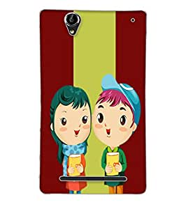 Fuson Love Couple Back Case Cover for SONY XPERIA T2 ULTRA - D3740