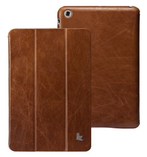 Jisoncase Vintage Genuine Leather Smart Cover Case for iPad Mini