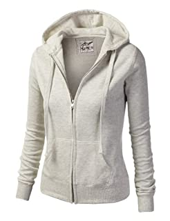 9XIS Womens Athletic Basic Long Sleeve Zip-Up Hoodie,Oatmeal,Large