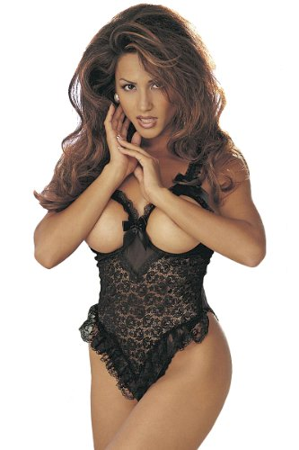 Plus Size Sexy Lace Cupless Teddy Lingerie