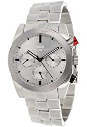 Kr3w Men's Silver Tone Dial Stainless Steel