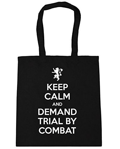 hippowarehouse-keep-calm-and-demand-trial-by-combat-tote-shopping-gym-beach-bag-42cm-x38cm-10-litres