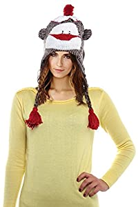 Cute Monkey Pilot Animal Cap/Hat with Ear Flaps and Poms