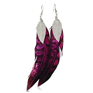 Fuchsia & Black Dangle Feather Earrings Leaf Accent, 6 Inches Long, CLEARANCE PRICED, LIMITED QUANTITY AVAILABLE