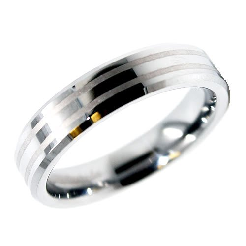 Blue Chip Unlimited - Unisex 6mm Two Satin Lines Tungsten Ring Wedding Band Designer Fashion Engagement Ring Size W 1/2