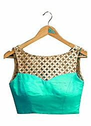 Maruti Latest Green Colour Beautiful Designer Blouse-Only Material(Unstitched Blouse)