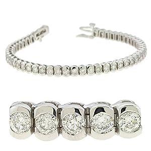 14k White Gold 5.00 Dwt Diamond Tube Tennis Bracelet - JewelryWeb