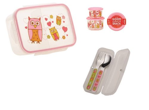 Sugarbooger Divided Lunch Box, (2) Small Storage Containers, and Silverware- Hoot Owl - 1