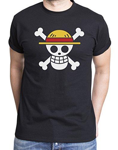 Ruffy-Straw-Hat-Logo-Camiseta-de-hombre-Luffy-Ruffy-One-Monkey-Anime-Piece-Zoro-Farbe2NegroGre2XXL