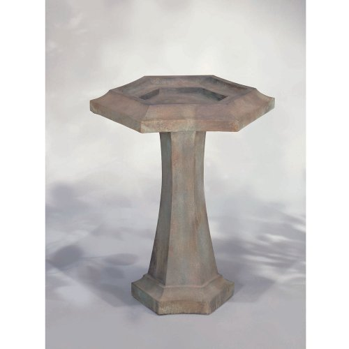 Henri Studio Hexagonal Prairie Bird Bath, 2 Pc_Pompeii Antique Ash