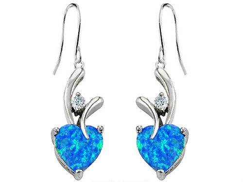 Star K 8mm Heart-Shape Simulated Blue Opal Hanging Hook Love Earrings