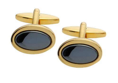Code Red Gold Plated Oval Haematite Cufflinks