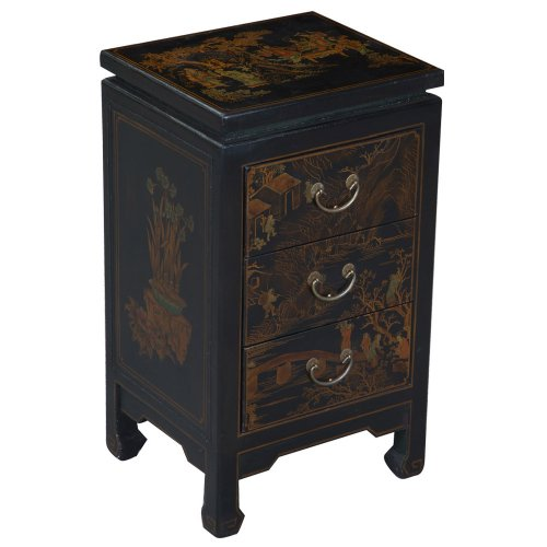 Cheap EXP Handmade Oriental Furniture – 28″ Antique Style Black Leather Three-Drawer End Table (B0027WJN4S)