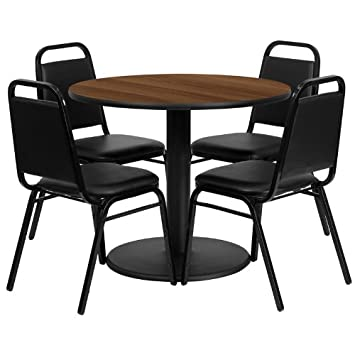 36'' Round Walnut Laminate Table Set of 4 Chairs Round Base