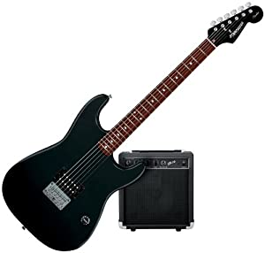 starcaster by fender 1 humbucker strat electric guitar starter pack black musical. Black Bedroom Furniture Sets. Home Design Ideas