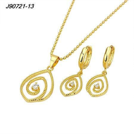 Curled Oval Gold Plated Pendant with Crystal & Chain and Matching Dangle Earrings Set