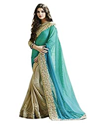OMKAR CLUB Beautiful Blue And Beige Embroidery Lace Work Saree