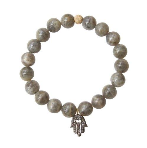 Gray Labradorite with Diamond Hamsa Charm Bracelet