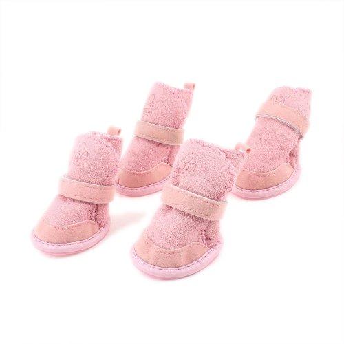 SODIAL (R) Rosa Haustier Schneeschuhe Klettschuhe Hundeschuhe Chihuahua Schuhe Stiefel 2 Paar XXS