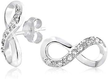 Bling Jewelry Sterling Silver CZ Infinity Symbol Earrings