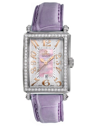 Gevril Women's 7248RV.14A Pink Mother-of-Pearl Genuine Alligator Strap Watch