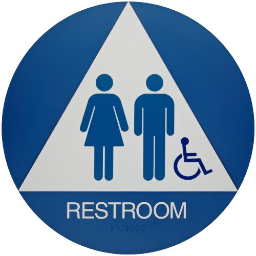 width x 10 height plastic white on blue california ada restroom sign