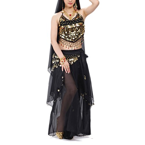 BellyLady Professional Belly Dance Costume, Halter Bra Top, Hip Scarf