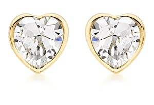 Carissima 9ct Yellow Gold Cubic Zirconia Heart Stud Earrings