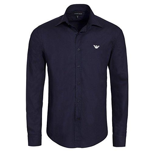 Emporio Armani -  Camicia Casual  - zip - Uomo blu Small