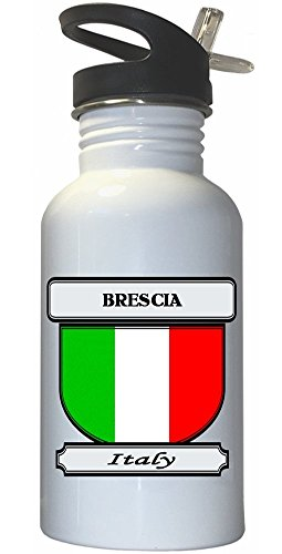 Brescia, Italy (Italia) City White Stainless Steel Water Bottle Straw Top