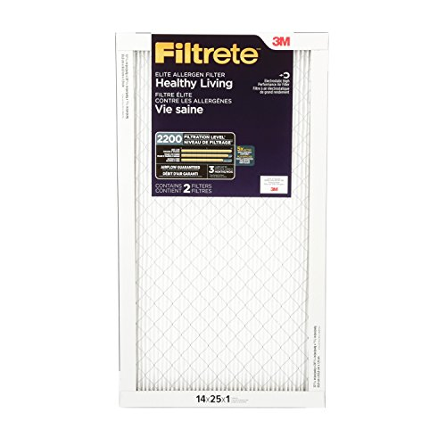 Filtrete Healthy Living Elite Allergen Reduction Filter, MPR 2200, 14 x 25 x 1-Inches, 2-Pack (3m Filtrete 14 X 25 X 1 compare prices)
