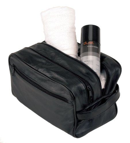 Alassio Kosmetiktasche Beautytasche Accessoiretasche Leder blau Reißverschluss