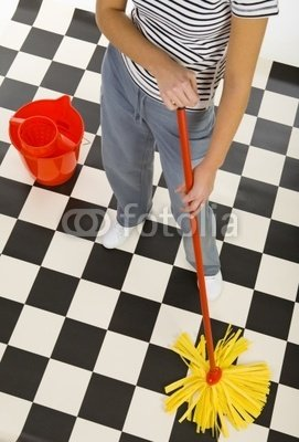 Wallmonkeys Peel and Stick Wall Decals - Cleaning Floor - 36