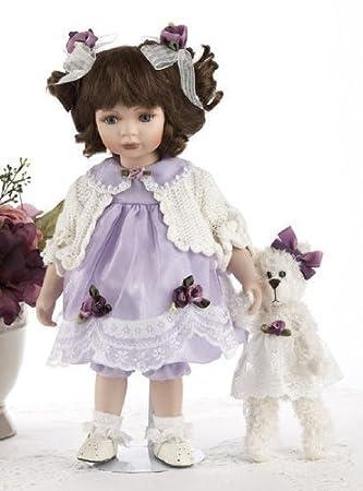 "14"" Porcelain Purple Dress Doll ""Kara"" by Delton Products (English Manual)"