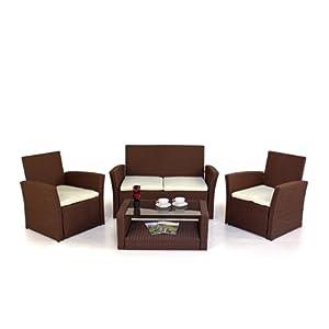 Billyoh Chatsworth Mocha Brown 4 Seater Sofa Rattan Garden Furniture Set Kitchen