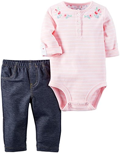 Carter's Baby Girls Bodysuit Pant Sets, Denim, 9 Months