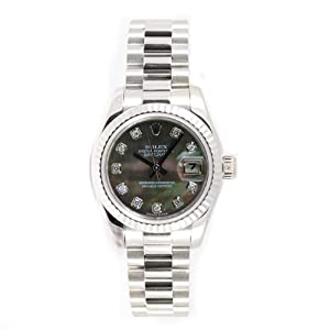 Rolex Ladys President New Style Heavy Band 18k White Gold Model 179179 Fluted Bezel Dark Mother Of Pearl Diamond Dial
