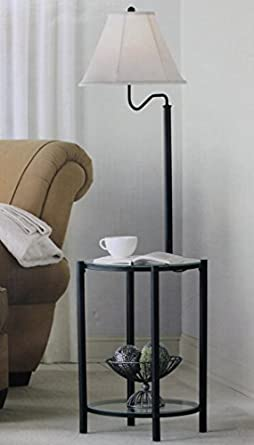 Mainstays glass furniture floor lamp matte black finish for Floor lamp with shelves amazon